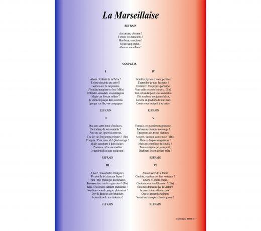 Plaque de la Marseillaise en Foam
